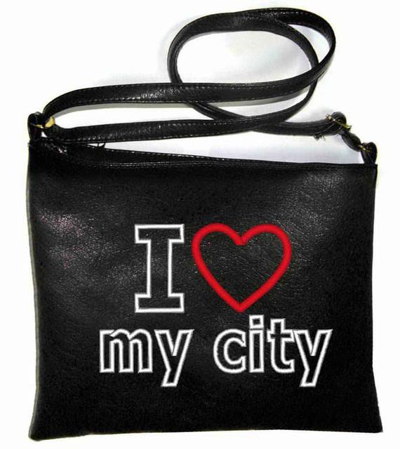 """Сумка - планшет с вышивкой """"I love my city"""" С106 - черная"""