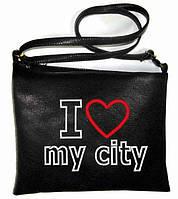 """Сумка - планшет с вышивкой """"I love my city"""" С106 - черная, фото 1"""