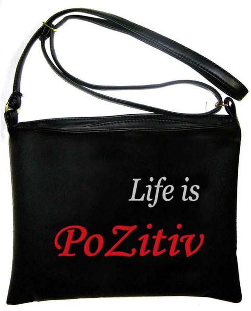 """Сумка - планшет с вышивкой """"Pozitiv"""" С110 - черная"""