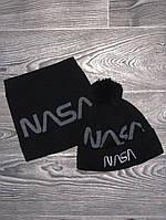 Шапка мужская с бубоном Nasa теплая + БАФ комплект черный. Фото в живую. Реплика, фото 1