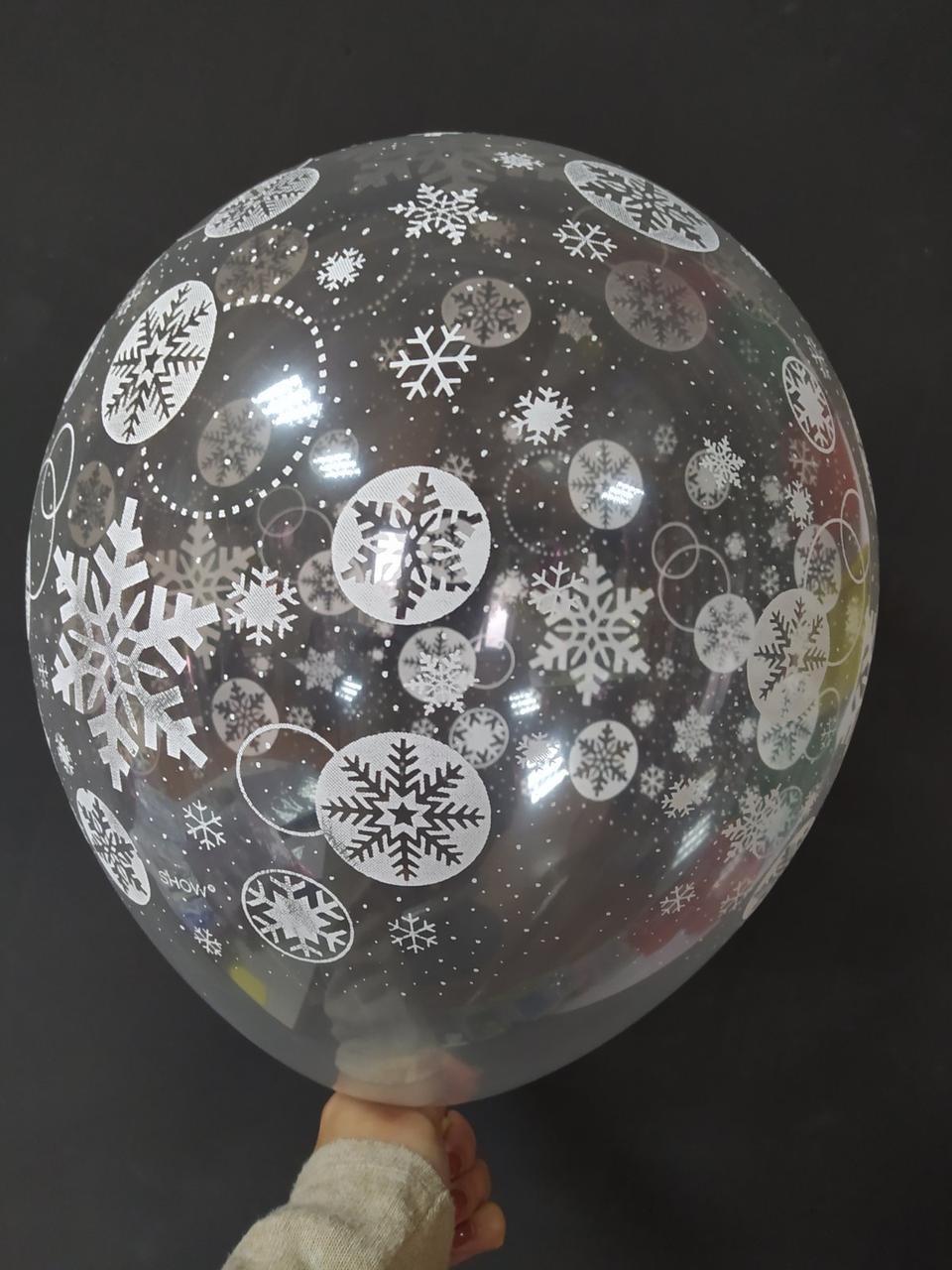 """Латексна кулька з малюнком сніжинки 12"""" прозора Арт-студія """"Show"""""""