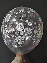 """Латексный шар с рисунком снежинки 12 """"прозрачная Арт-студия"""" Show """""""
