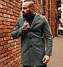Мужское пальто с начесом еврозима теплое серое Турция. Живое фото