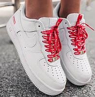 """Мужские кроссовки Nike Air force 1 low 07 Supreme """"White"""" белые осень-весна демисезон. Живое фото. Реплик, фото 1"""
