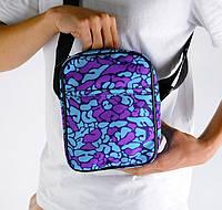 Мужская сумка мессенджер голубая Мозги (сумка через плечо). Живое фото. Реплика, фото 1