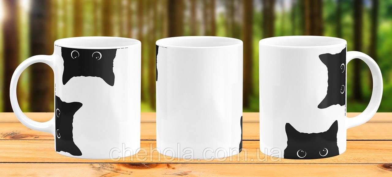 Оригинальная кружка с принтом Черный кот Прикольная чашка подарок 14 февраля 8 марта