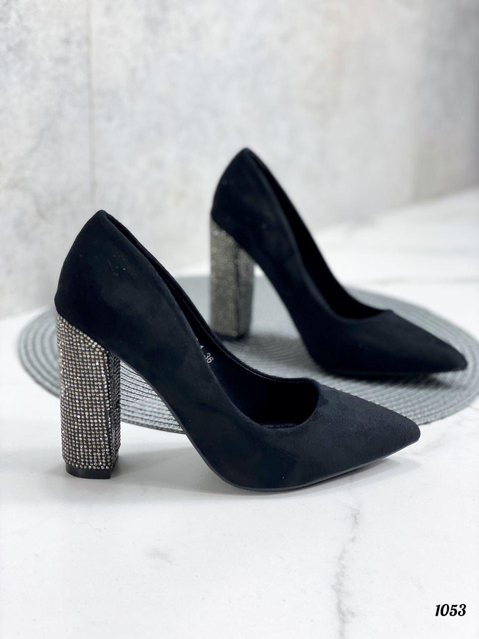 Только 38 р! Женские туфли с декором на каблуке со стразами 10,5 см эко- замш
