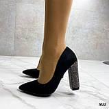 Только 38 р! Женские туфли с декором на каблуке со стразами 10,5 см эко- замш, фото 2