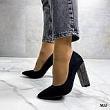 Только 38 р! Женские туфли с декором на каблуке со стразами 10,5 см эко- замш, фото 3