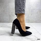 Только 38 р! Женские туфли с декором на каблуке со стразами 10,5 см эко- замш, фото 4