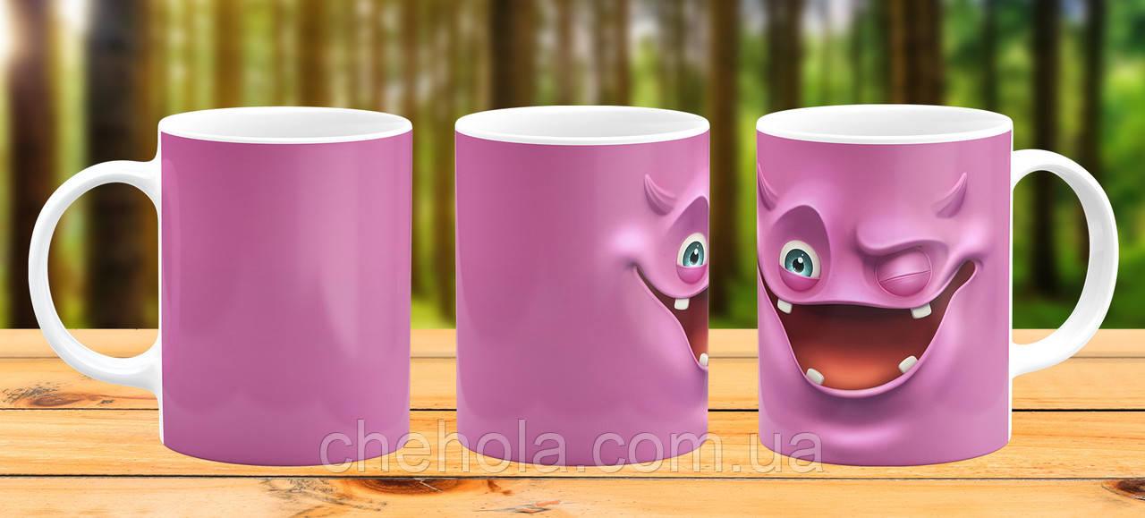 Оригинальная кружка с принтом Розовая монстр Прикольная чашка подарок Парню другу