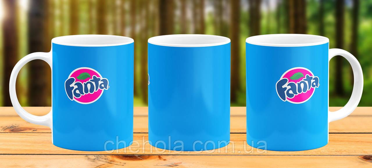 Оригінальна гуртка з принтом fanta блакитна Прикольна чашка подарунок подрузі Другові