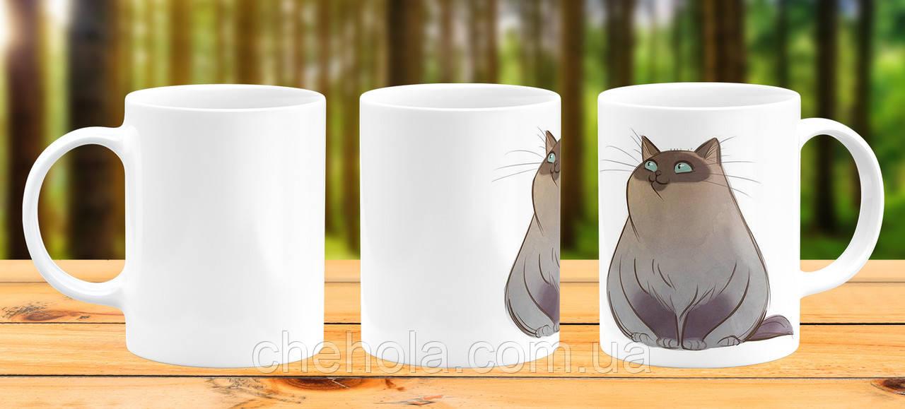 Оригинальная кружка с принтом Толстый кот Прикольная чашка подарок