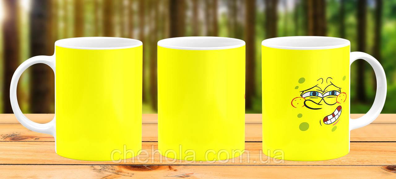 Оригинальная кружка с принтом Губка боб Прикольная чашка подарок Сыну дочке