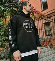 Теплое мужское худи Black Karma Doomsday черное черный реплика. Живое фото