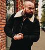 Мужская зимняя куртка теплая замшевая с мехом черная Турция. Живое фото. Чоловіча куртка