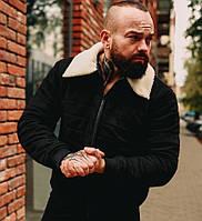 Мужская зимняя куртка теплая замшевая с мехом черная Турция. Живое фото. Чоловіча куртка, фото 1