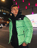 Мужская зимняя куртка (пуховик) оверсайз теплая TNC и гучи зеленый. Живое фото. Чоловіча куртка, фото 1