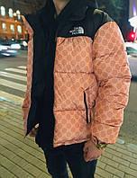 Мужская зимняя куртка (пуховик) оверсайз теплая TNC и гучи коричневый. Живое фото. Чоловіча куртка, фото 1