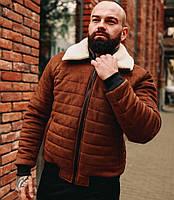 Мужская зимняя куртка теплая замшевая с мехом коричневая Турция. Живое фото. Чоловіча куртка, фото 1