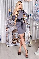 Стильное платье с поясом, р44-48, фото 1