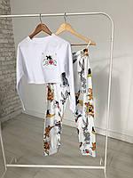 Белая молодежная пижама для дома и сна с укороченной кофтой и штанами DisneyТом и Джерри и компания, фото 1