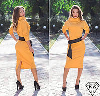 Платье летучая мышь жёлтое ворот широкий хомут н, б