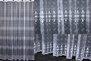 Тюль фатин с вышивкой, цвет белый. Код 468т (3*2,5) 40-094