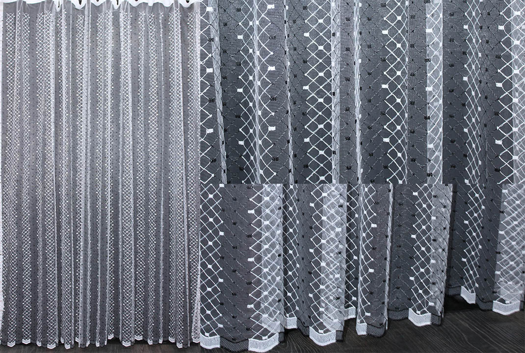 Тюль фатин с вышивкой, цвет белый. Код 475т(3*2,5)  40-070