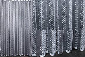 Тюль фатин с вышивкой, цвет белый. Код 475т(3*2,5)  40-070, фото 2