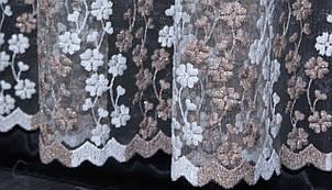 Тюль фатин с вышивкой, цвет кофейный. Код 277т(3*2,5) 40-046, фото 2