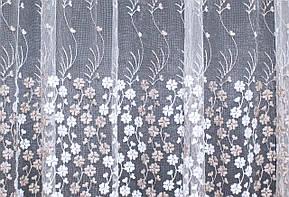 Тюль фатин с вышивкой, цвет кофейный. Код 277т(3*2,5) 40-046, фото 3
