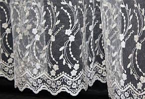 Тюль фатин с вышивкой, цвет шампань. 3м*2,5м. Код 252т  40-040, фото 2