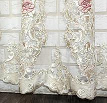 Тюль фатин бархат  с вышивкой(Троянди), цвет шампань с розовым. Код 600т  (3*2,5) 40-263, фото 2