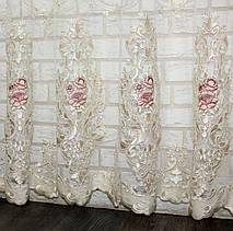 Тюль фатин бархат  с вышивкой(Троянди), цвет шампань с розовым. Код 600т  (3*2,5) 40-263, фото 3