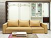 Шкаф-кровать с диваном в светлых тонах