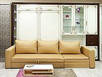 Шкаф-кровать с диваном в светлых тонах, фото 1