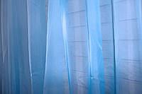Готовая шифоновая тюль, цвет голубой (2,9м*2,5м) 40-240
