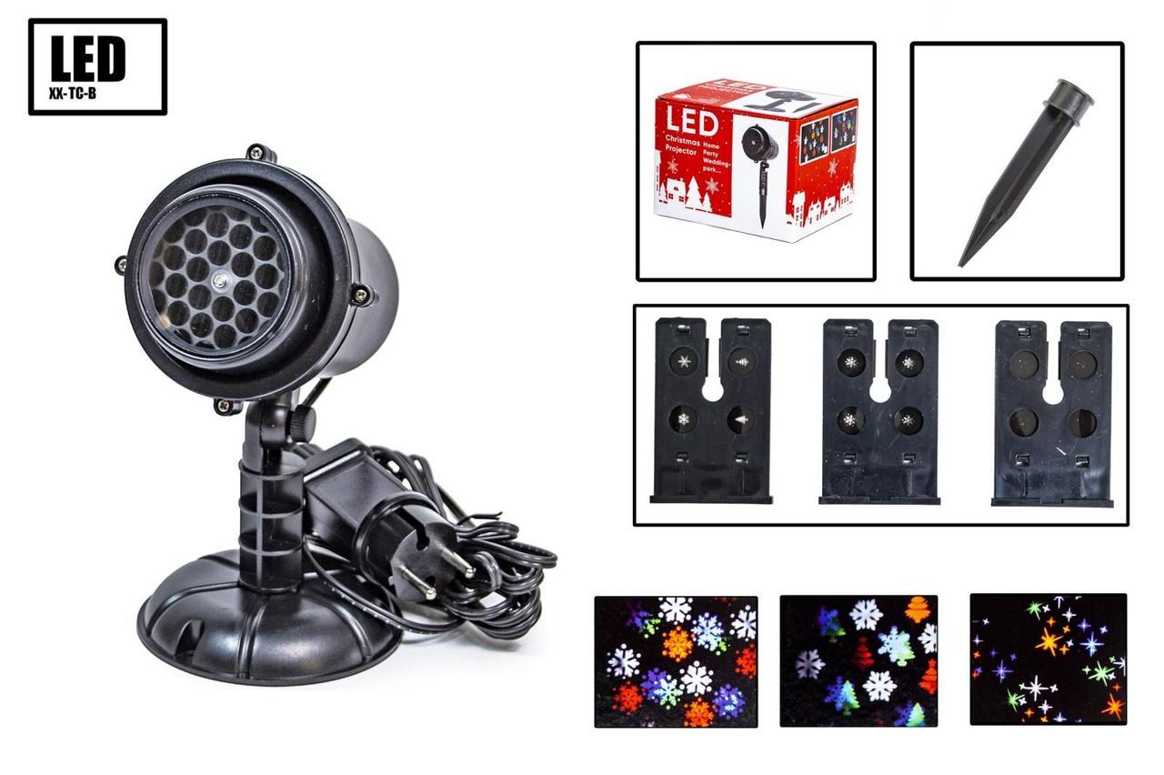 Лазерний новорічний проектор X-LASER XX-TC-B зі змінними картриджами