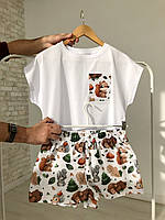 """Белая молодежная пижама для дома и сна с футболкой и шортами в новогоднем стиле """"Звери в лесу"""" M, фото 1"""