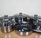 Набор кастрюль SwissHaus 6 шт (12 предметов) с многослойным дном из нержавеющей стали, набор кухонной посуды, фото 2