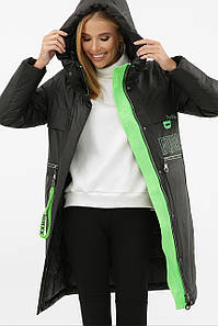 Куртка женская черный-зеленый 297