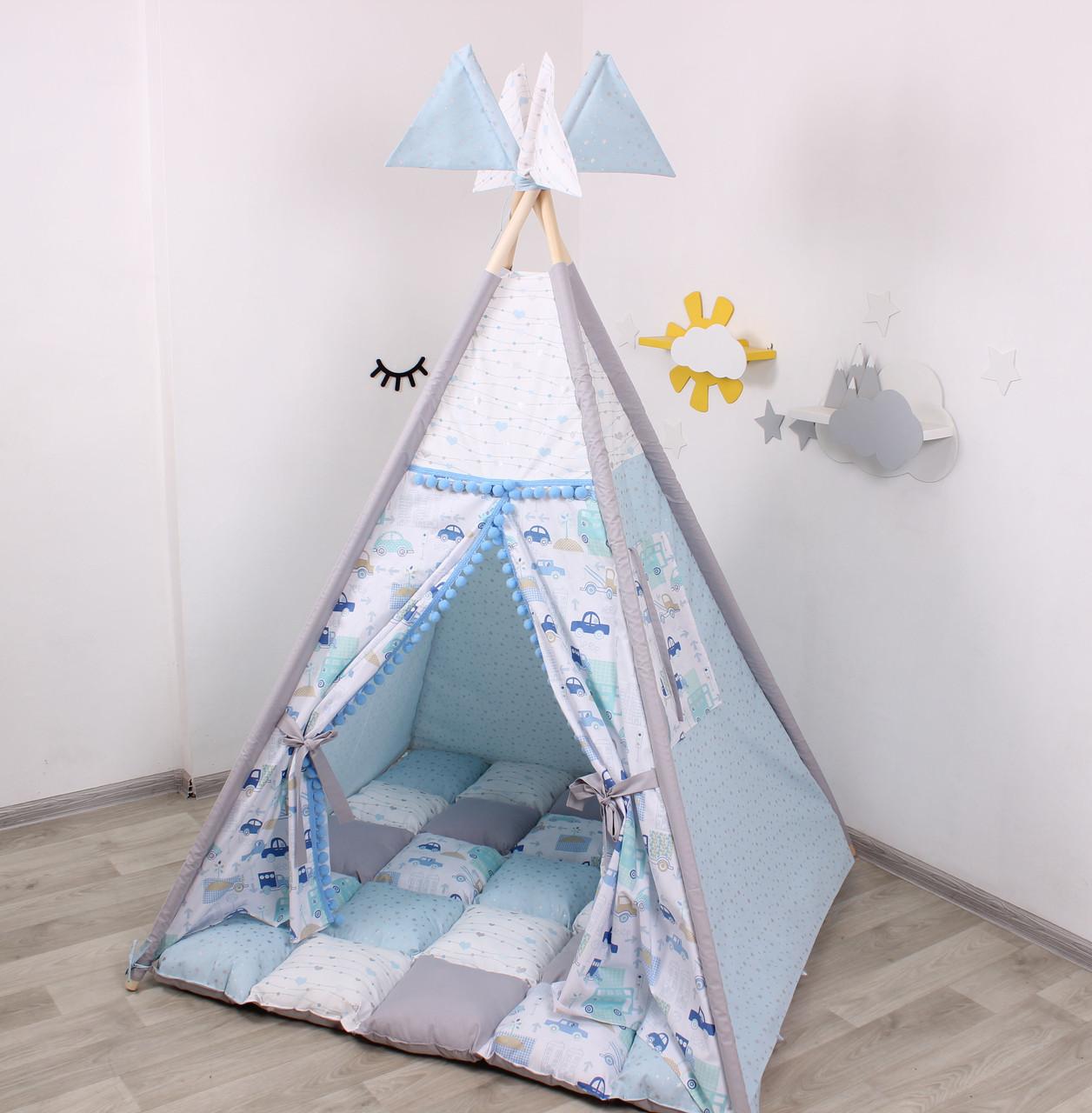 Детская палатка-вигвам с ковриком Машинки 125х125х170 см