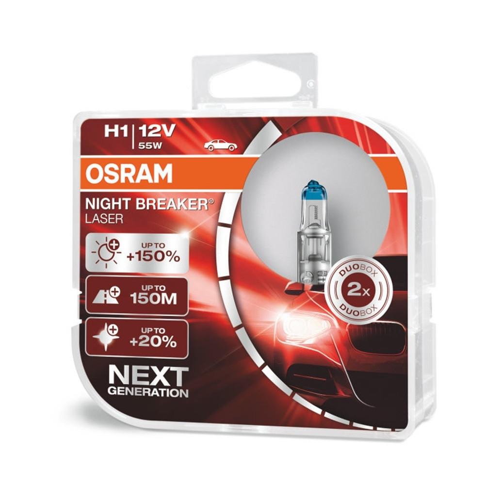Галогенная лампа Osram Night Breaker Laser +150% H1 12V 55W 64150NL-HCB-DUO (2шт)