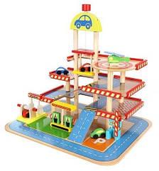 Парковка гараж деревянный детский 9351
