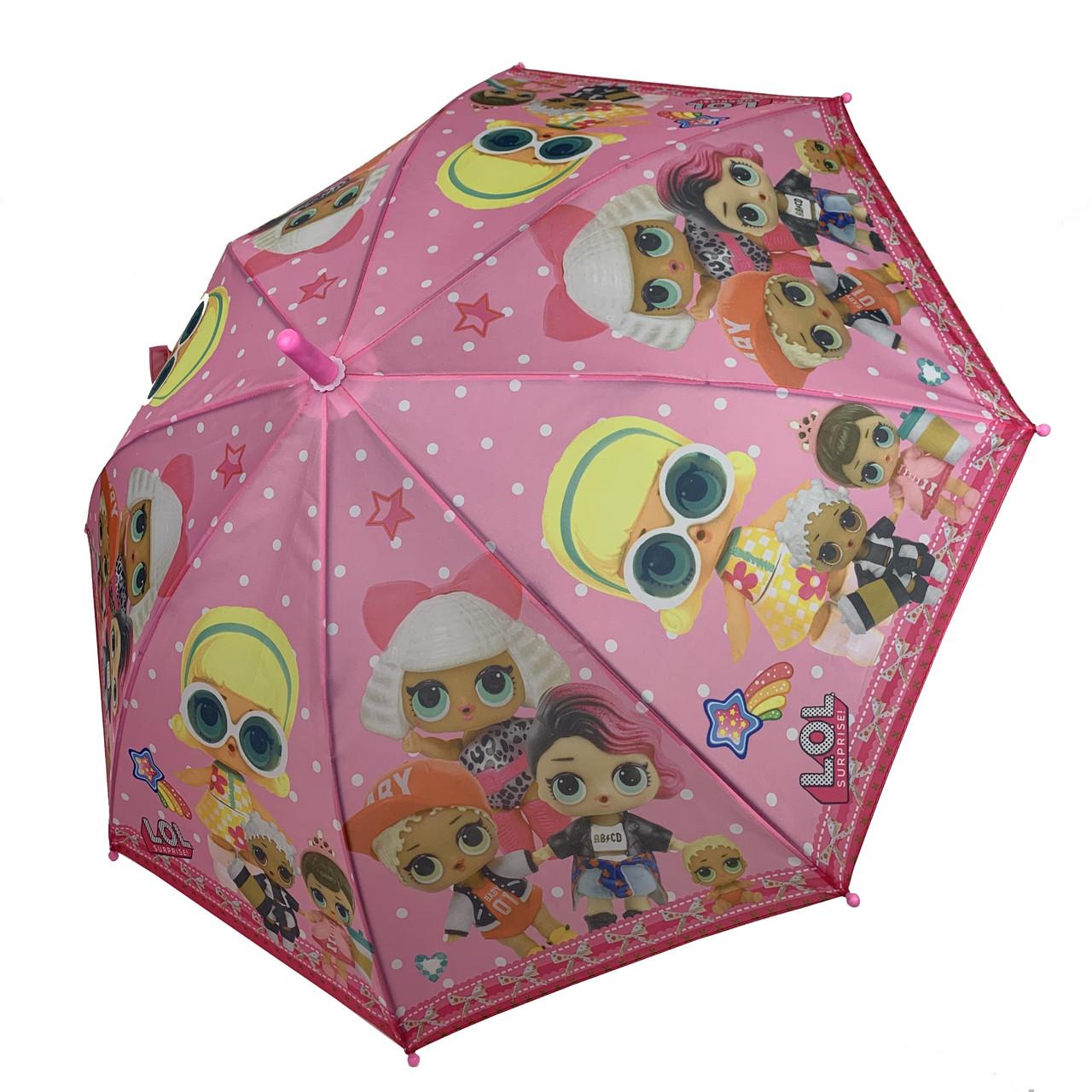 """Детский зонт-трость, полуавтомат """"LOL / ЛОЛ"""" от Paolo Rosi, с розовой ручкой,  077-2"""
