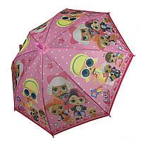 """Детский зонт-трость, полуавтомат """"LOL / ЛОЛ"""" от Paolo Rosi, с розовой ручкой,  077-2, фото 1"""