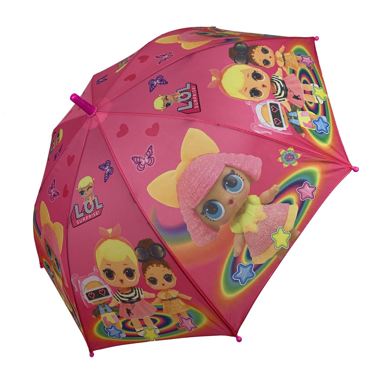 """Детский зонт-трость, полуавтомат """"LOL / ЛОЛ"""" от Paolo Rosi, с малиновой ручкой,  077-3"""