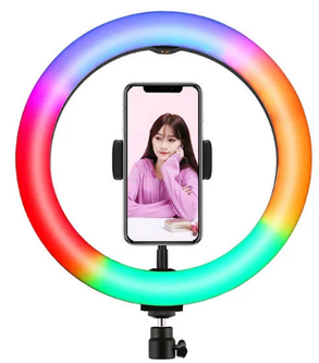 Светодиодная кольцевая LED лампа MJ20 RGB 15 цветов Soft Ring Light 20 см, фото 2