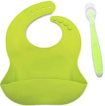 Набор ложка силиконовая для кормления ребенка эргономичная и Слюнявчик силиконовый Салатовый (n-787)